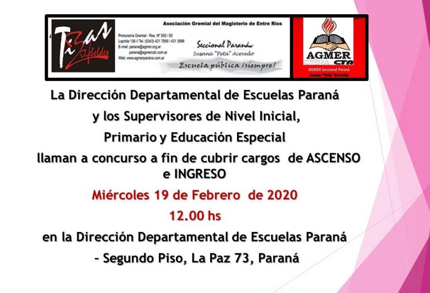 Miércoles 19 de Febrero de 2020. Concurso de ASCENSO e INGRESO de Nivel Inicial,  Primario y Educación Especial