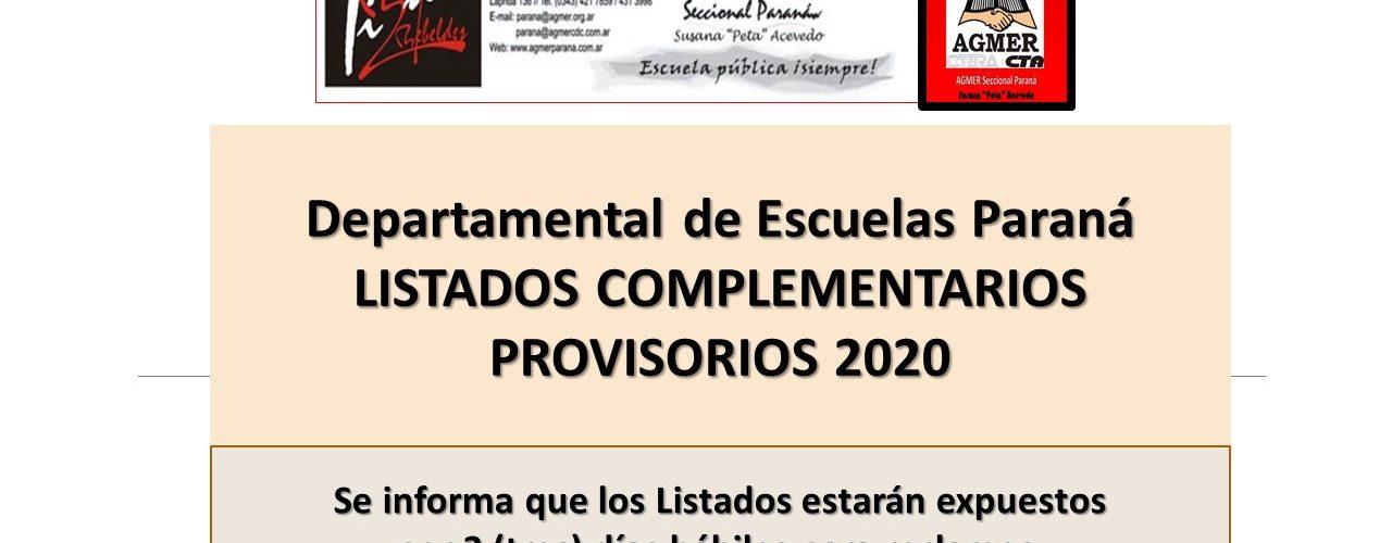 LISTADOS COMPLEMENTARIOS PROVISORIOS 2020.