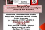 27 de Febrero de 2020. Concursos de Suplencias.   –Concurso de Ascenso,  Cargos de Jóvenes y Adultos y Maestros de Ciclo
