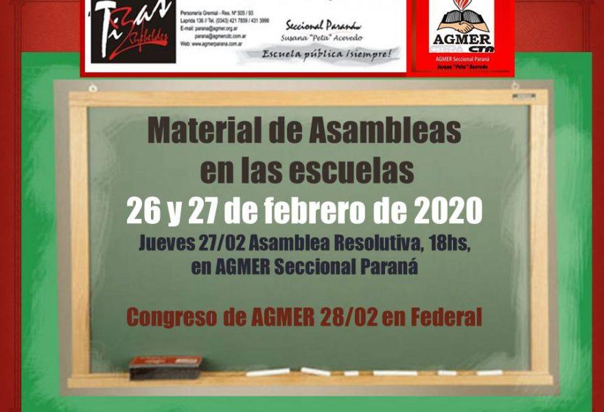 Material de Asambleas en las escuelas. 26 y 27 de febrero del 2020