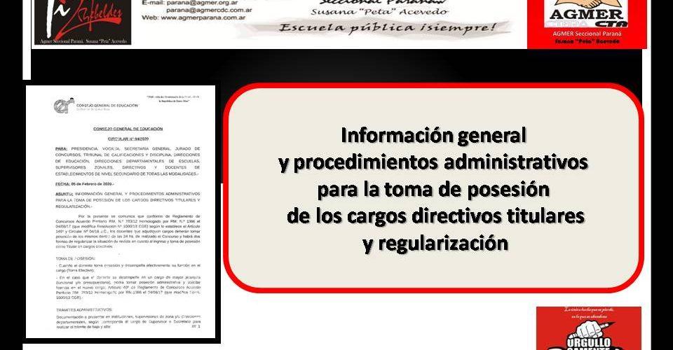 Información general y procedimientos administrativos para la toma de posesión de los cargos directivos titulares y regularización