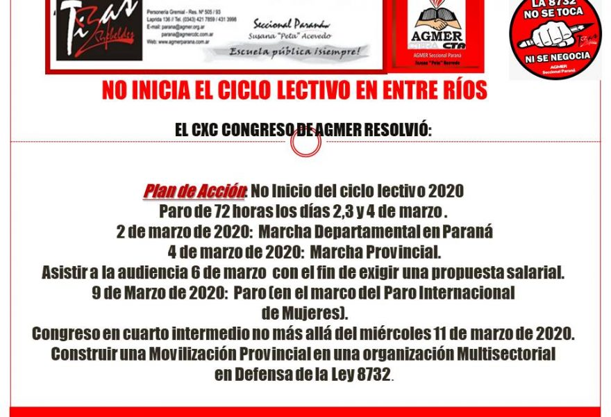 NO INICIA EL CICLO LECTIVO EN ENTRE RÍOS.  EL CXC CONGRESO DE AGMER