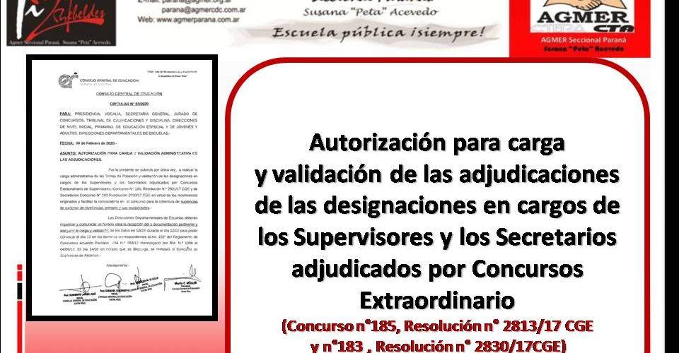 Autorización  y validación de las adjudicaciones  de  designaciones en cargos de los Supervisores y los Secretarios adjudicados por Concursos Extraordinario