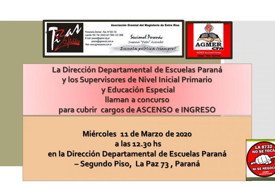 11 de marzo de 2020. Concurso de Ascenso e Ingreso, Nivel Inicial Primario  y Educación Especial