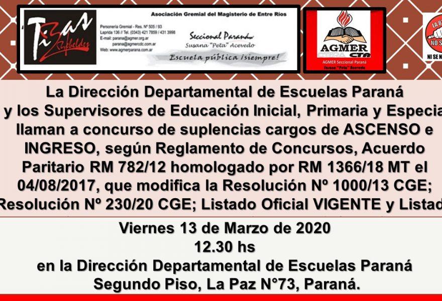 13 de marzo de 2020. Concurso de Ascenso e Ingreso, Educación Inicial, Primaria y Especial