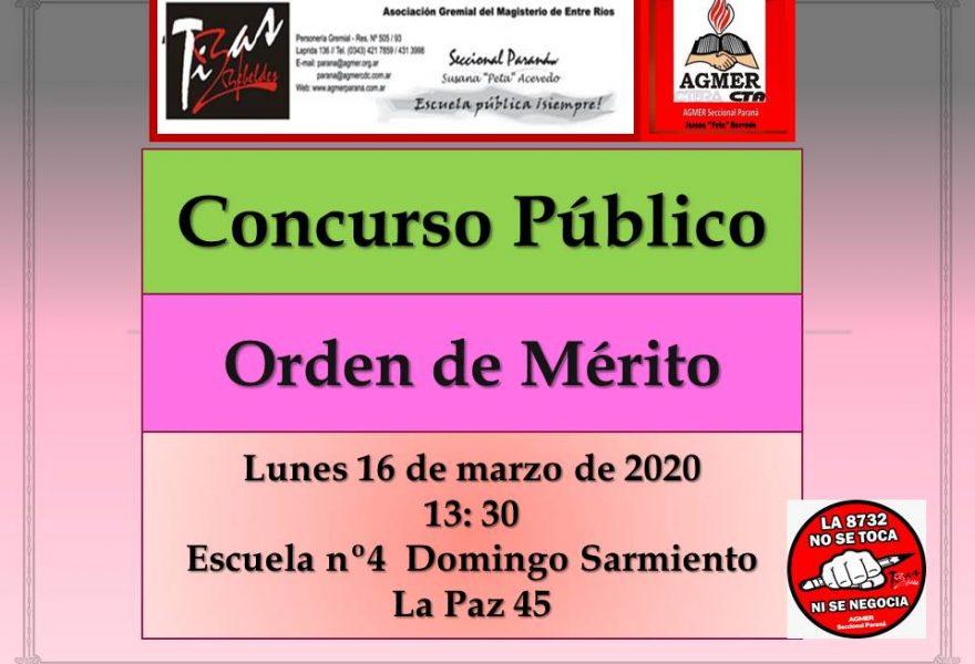 Lunes 16 de marzo de 2020. Concurso Público. Orden de Mérito