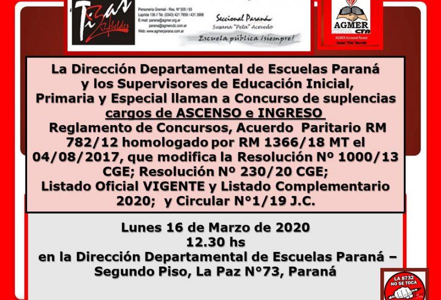 Lunes 16 de marzo de 2020. Concurso de Ascenso e Ingreso. Educación Inicial, Primaria y Especial