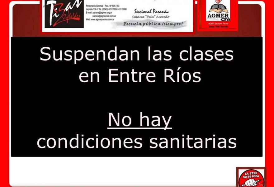 Suspendan las clases  en Entre Ríos.   No hay  condiciones sanitarias