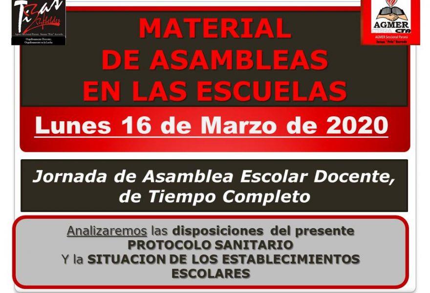 16 de marzo de 2020. Asambleas en la escuelas