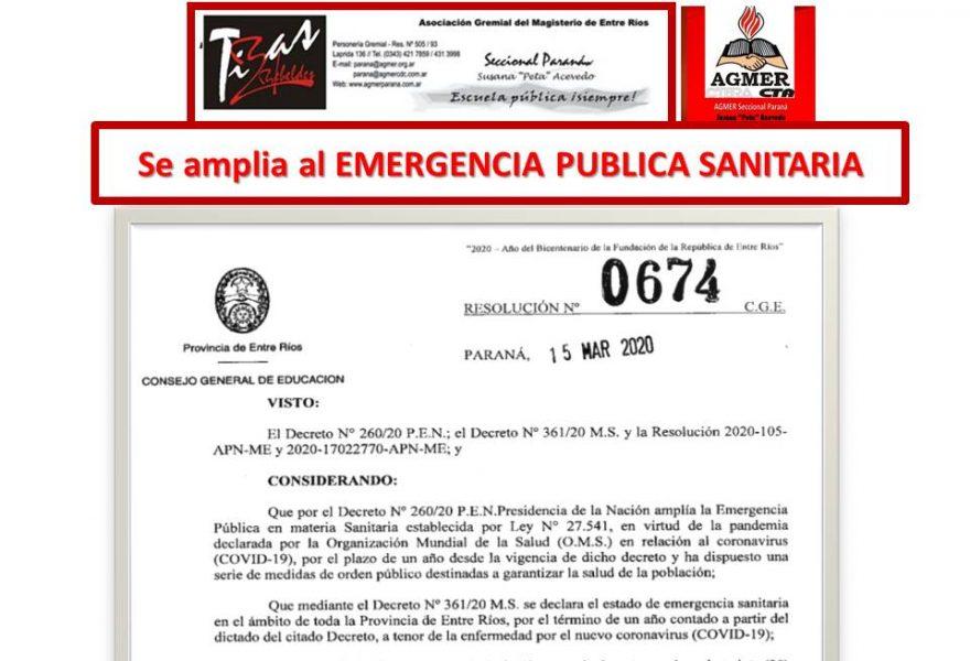 Se amplía la EMERGENCIA PÚBLICA SANITARIA- Resolución O674/20 CGE