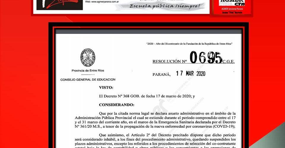 La Provincia dispuso asueto para la Administración Pública hasta el 31 de marzo
