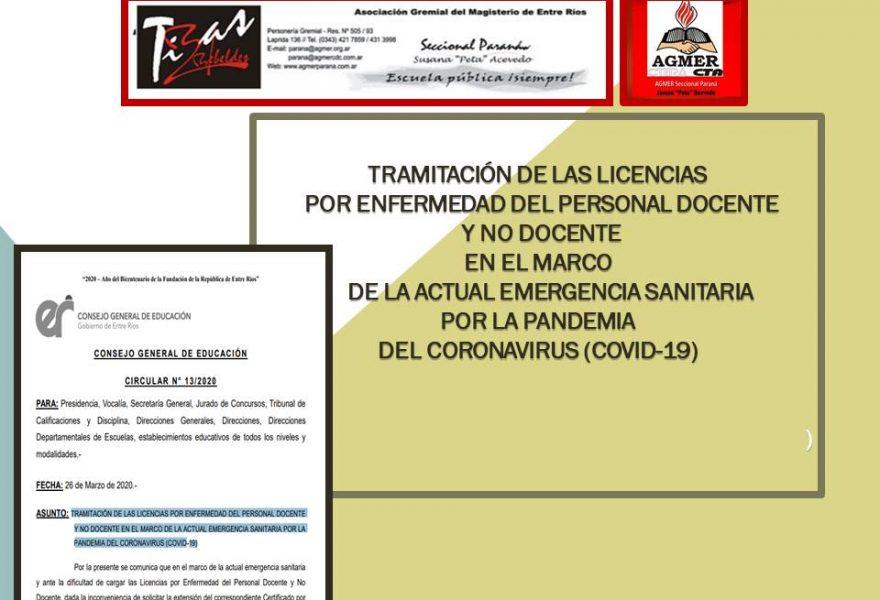 TRAMITACIÓN DE LAS LICENCIAS  POR ENFERMEDAD DEL PERSONAL DOCENTE   Y NO DOCENTE  EN EL MARCO DE EMERGENCIA SANITARIA   (COVID-19)