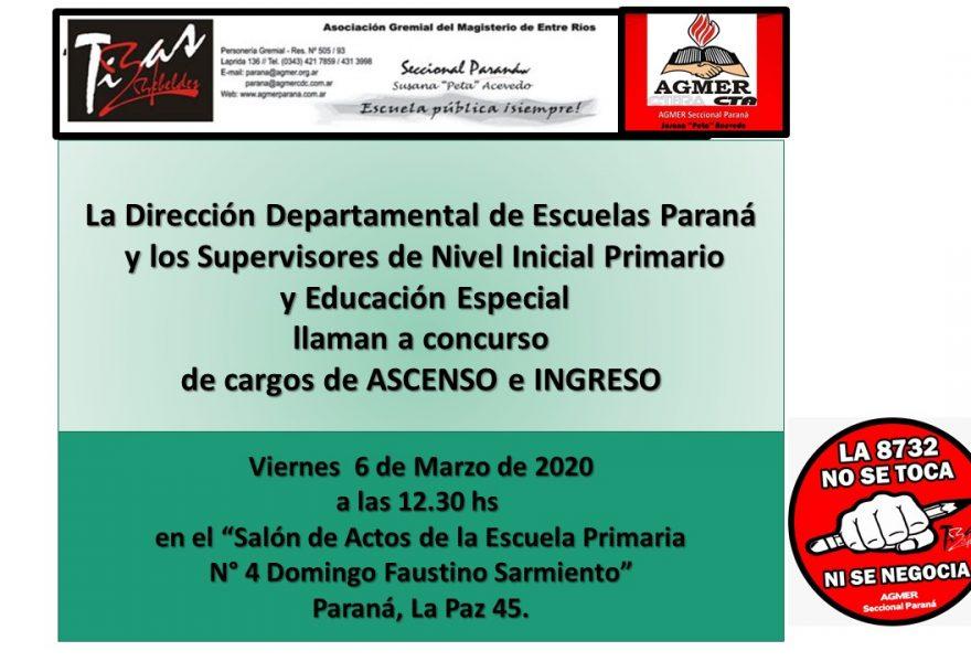 Viernes 6 de marzo de 2020. Concurso  de cargos de ASCENSO e INGRESO. Nivel Inicial Primario  y Educación Especial