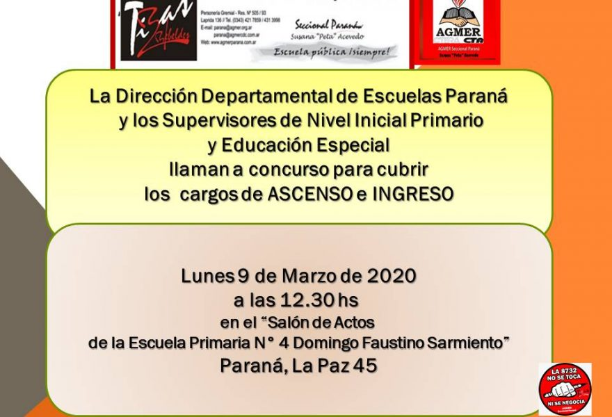 9 de marzo de 2020. Concurso de Ascenso e Ingreso. Nivel Inicial Primario y Educación Especial