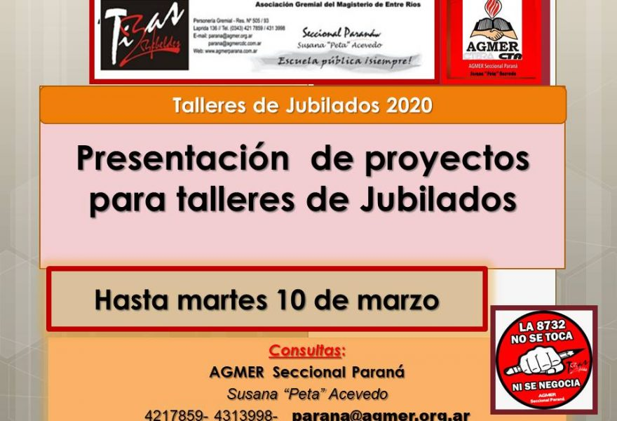 Presentación  de proyectos para talleres de Jubilados