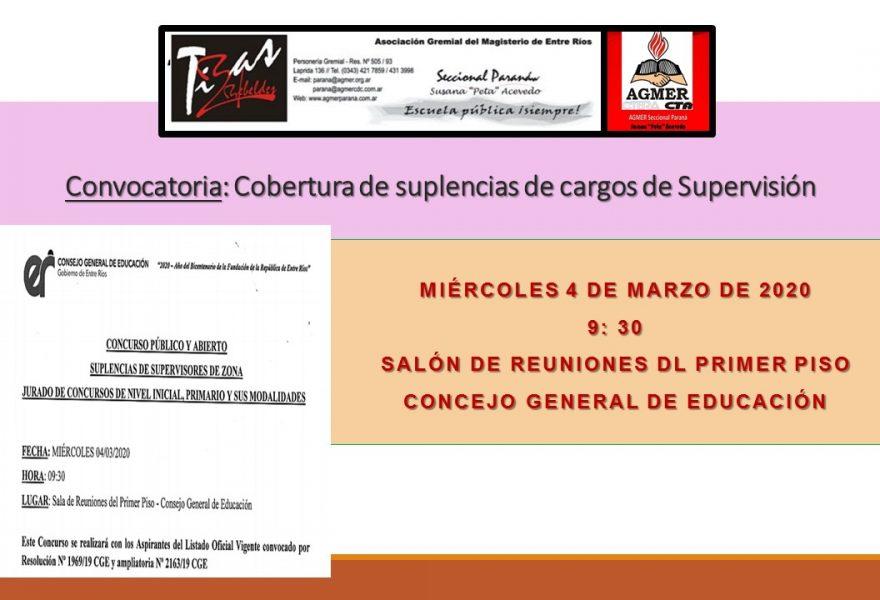 Miércoles 4 de marzo de 2020. Convocatoria:  Cobertura de suplencias de cargos de Supervisión
