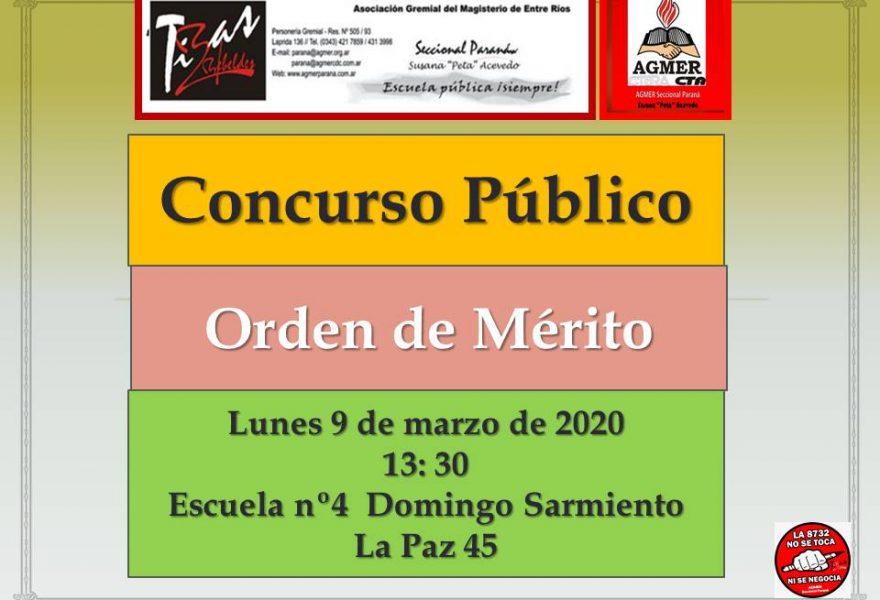 Lunes 9 de marzo de 2020. Concurso Público.  Orden de Mérito