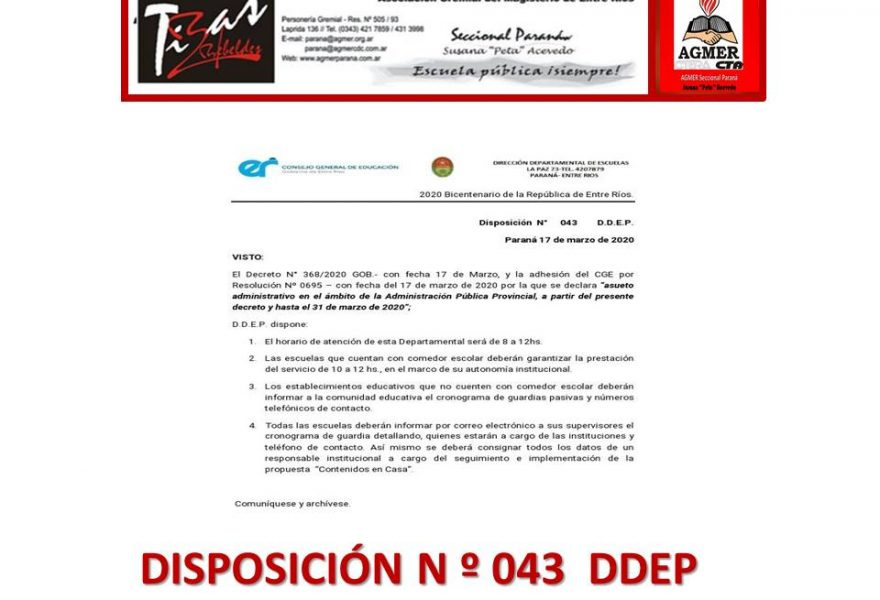 Disposición 043 DDEP