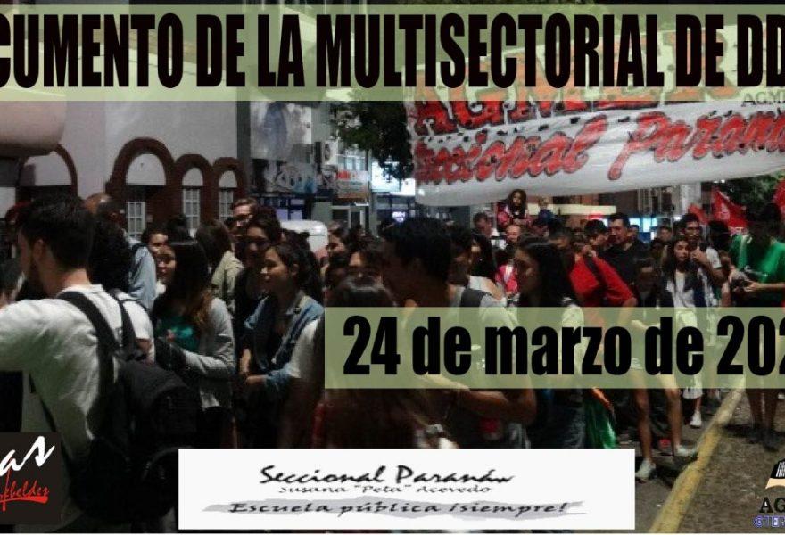 24 de marzo de 2020. DOCUMENTO DE LA MULTISECTORIAL DE DDHH