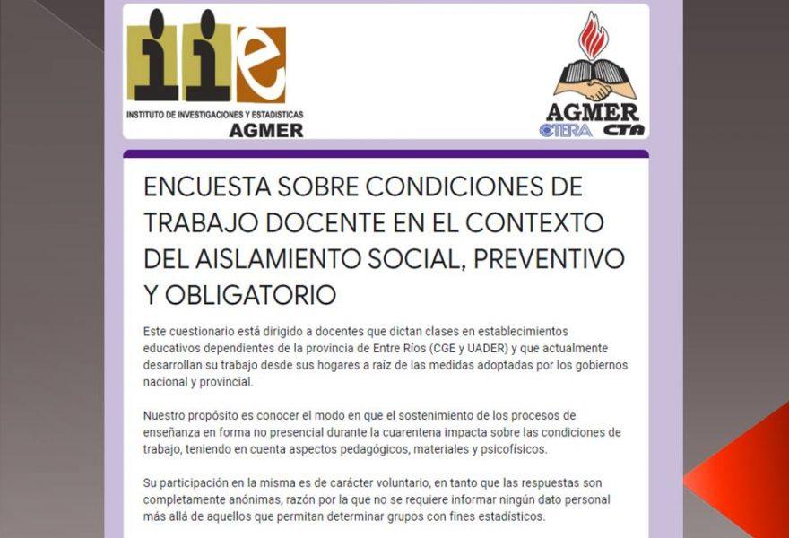 ENCUESTA SOBRE CONDICIONES DE TRABAJO DOCENTE EN EL CONTEXTO DEL AISLAMIENTO SOCIAL, PREVENTIVO Y OBLIGATORIO