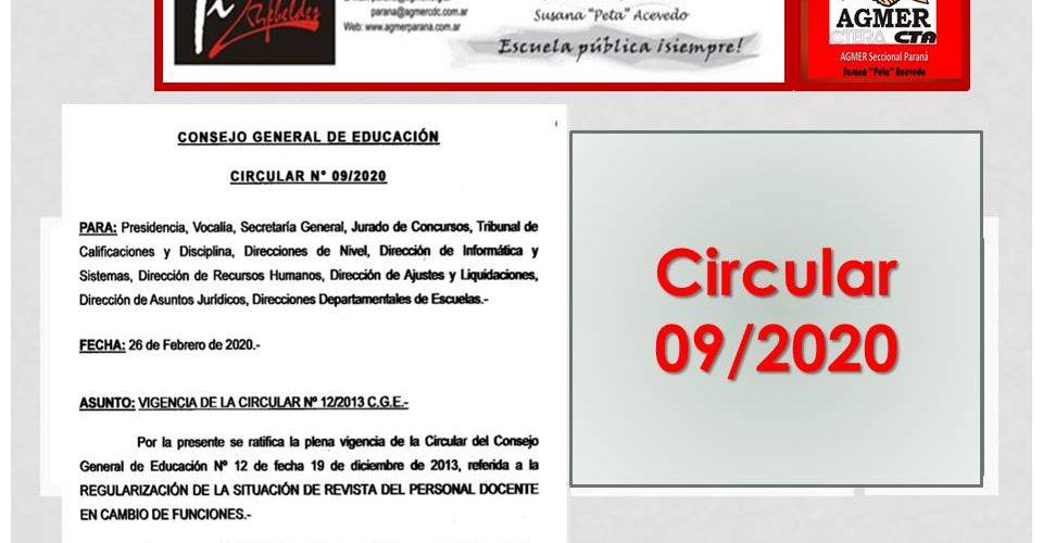 Circular  09/2020. Vigencia de la Circular Nº 12 2013 CGE-Cambio de Funciones Personal Docente