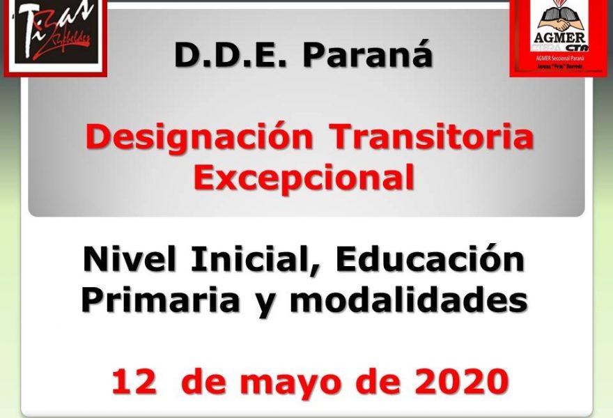D.D.E. Pná Designación Transitoria Excepcional  Nivel Inicial, Educación Primaria y modalidades – 12  de mayo de 2020