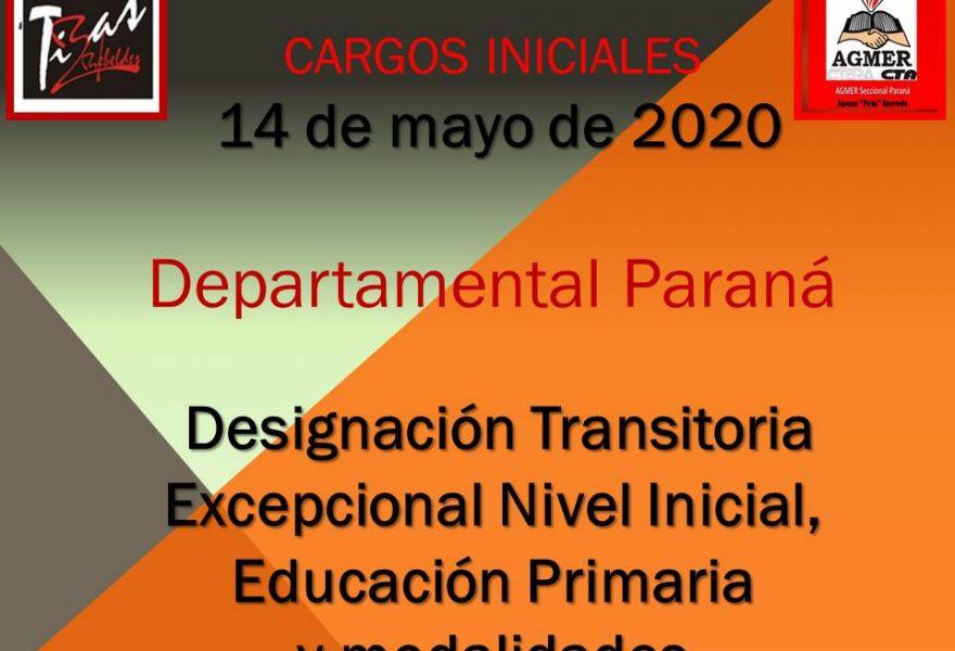 Departamental Paraná – Designación Transitoria Excepcional Nivel Inicial, Educación Primaria y modalidades – CARGOS INICIALES 14 DE MAYO 2020