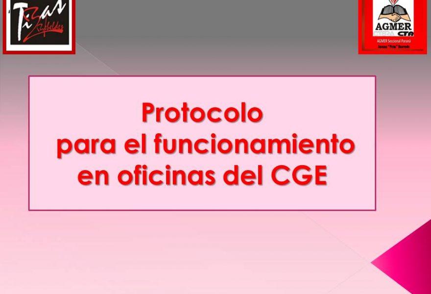 Protocolo para el funcionamiento en oficinas del CGE
