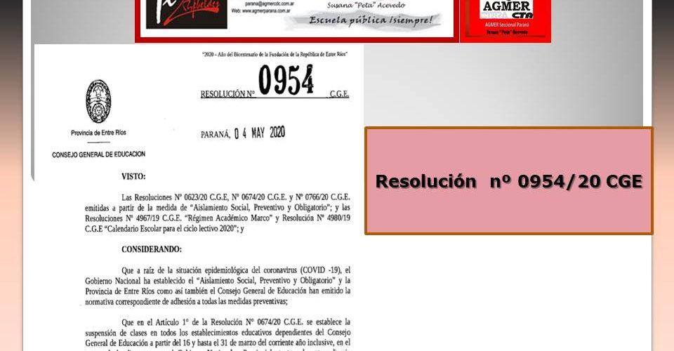Resolución  nº 0954/20 CGE. Suspensión de Mesas Evaluadoras y la emisión de Informes de Equivalencias Nivel Superior