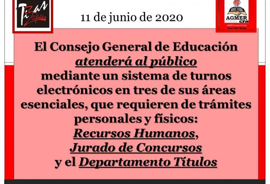 El Consejo General de Educación atenderá al público mediante un sistema de turnos electrónicos: Recursos Humanos, Jurado de Concursos y el Departamento Títulos.