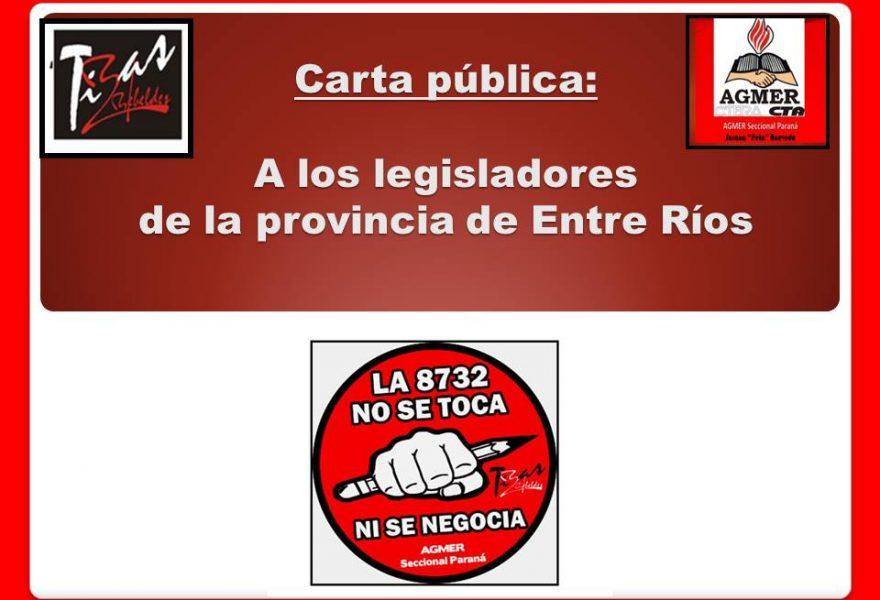 Carta pública:  A los legisladores de la provincia de Entre Ríos