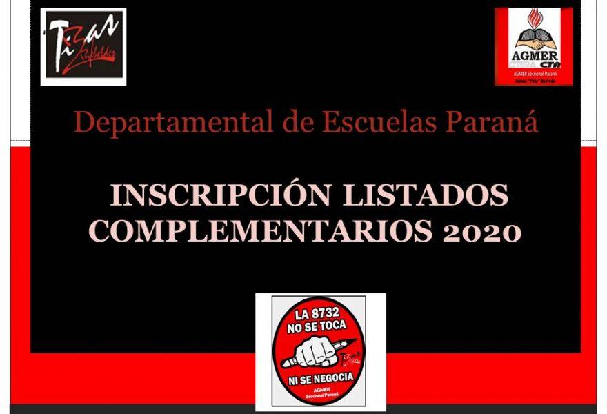 INSCRIPCIÓN LISTADOS COMPLEMENTARIOS 2020