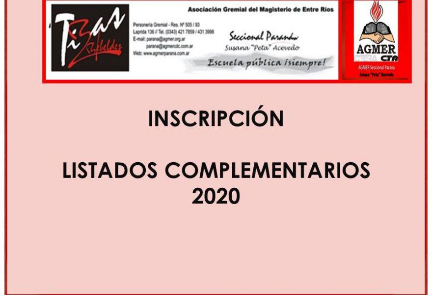 LISTADOS COMPLEMENTARIOS 2020