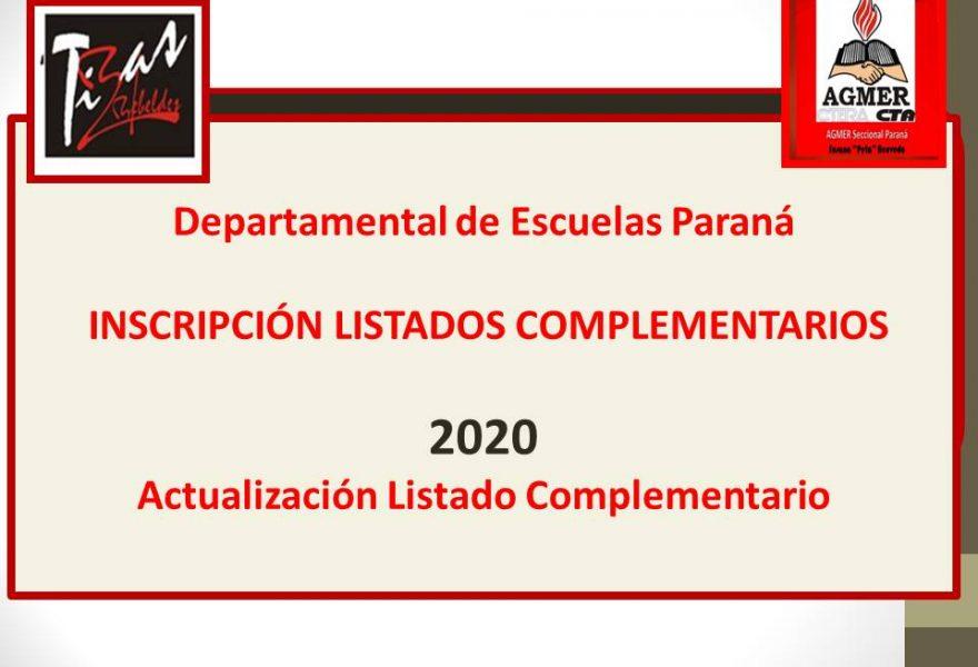 Departamental de Escuelas Paraná – INSCRIPCIÓN LISTADOS COMPLEMENTARIOS 2020
