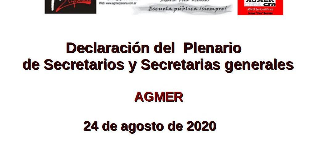 Declaración del Plenario de Secretarios y Secretarias generales AGMER