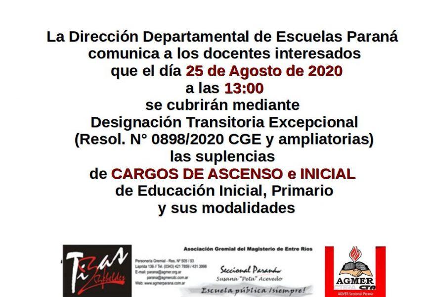 DDE Paraná – CONVOCATORIA D.T.E.- CARGOS DE ASCENSO e INICIAL Resol.N°0898/20 CGE 25 de Agosto de 2020