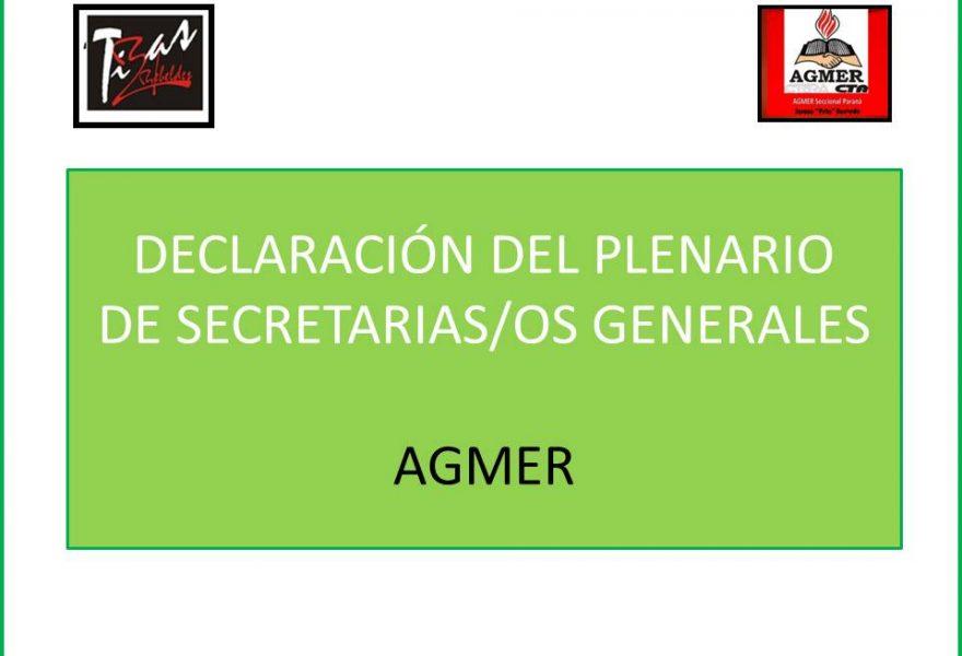 DECLARACIÓN DEL PLENARIO DE SECRETARIAS/OS GENERALES