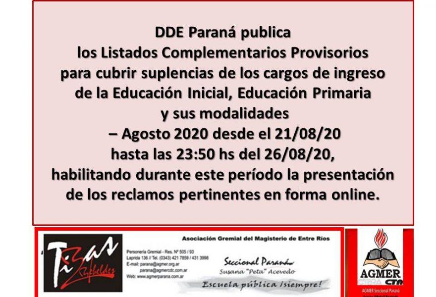 DDE Paraná –  LISTADOS COMPLEMENTARIOS PROVISORIOS – Educación Inicial, Educación Primaria y sus modalidades – Agosto 2020