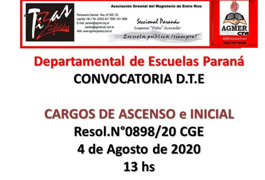 DDE Paraná – CONVOCATORIA D.T.E.- CARGOS DE ASCENSO e INICIAL Resol.N°0898/20 CGE 4 de Agosto de 2020