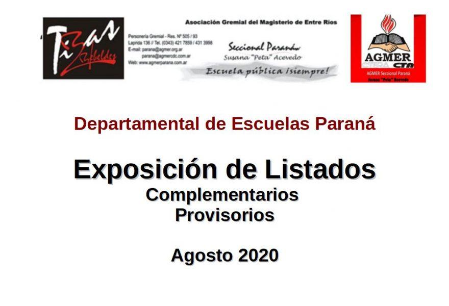 Exposición de Listado Complementarios provisorios DDEP