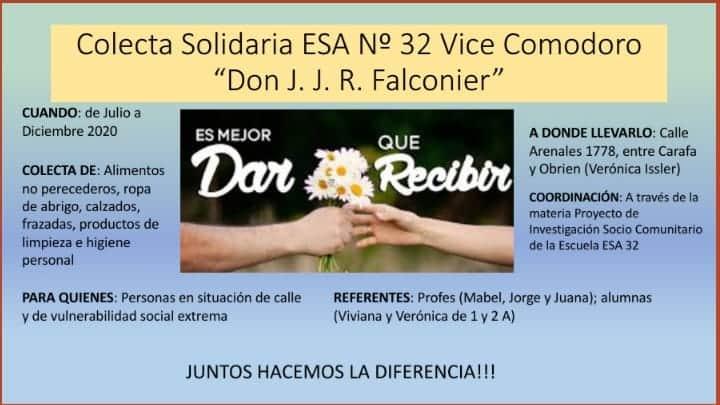 """Colecta solidaria. Escuela ESA n º 32 """"Don J.  J. R.  Falconier"""""""