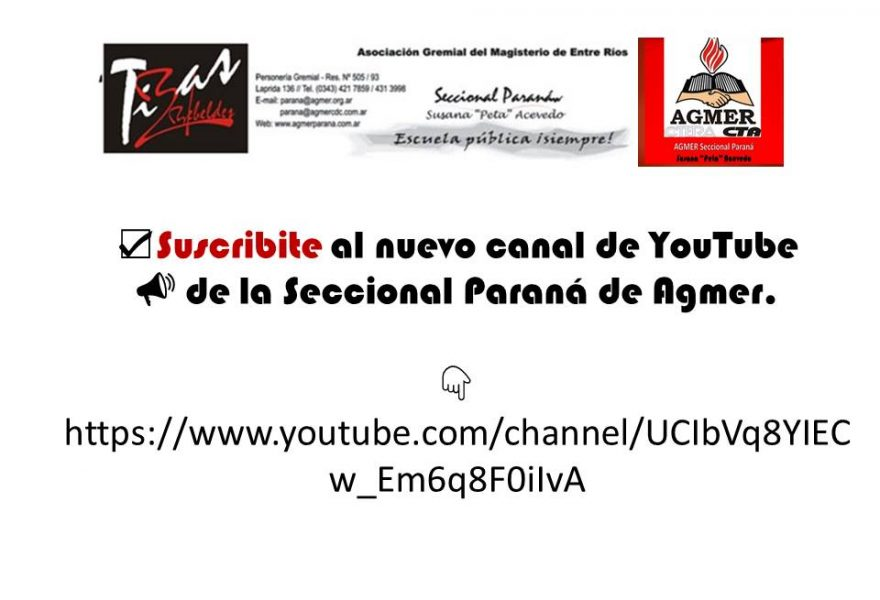 Canal Youtbe Agmer seccional Paraná