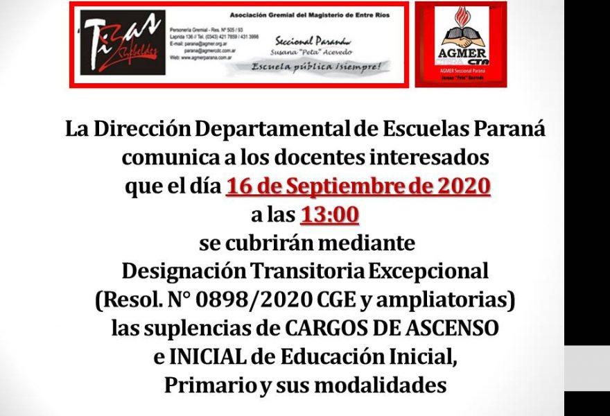 DDE Paraná – CONVOCATORIA D.T.E.- CARGOS DE ASCENSO e INICIAL Resol.N°0898/20 CGE 16 Septiembre de 2020