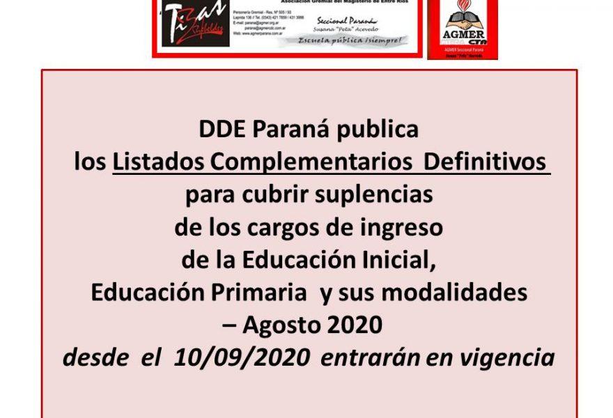 DDE Paraná publica los Listados Complementarios  Definitivos para cubrir suplencias de los cargos de ingreso de la Educación Inicial, Educación Primaria y sus modalidades – Agosto 2020  desde  el  10/09/2020  entrarán en vigencia