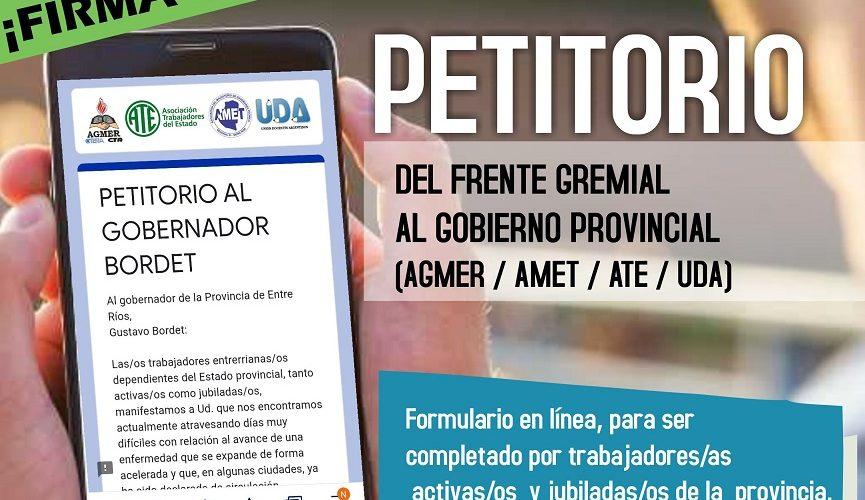 El Frente Gremial lanza un petitorio con demandas al Gobierno Provincial