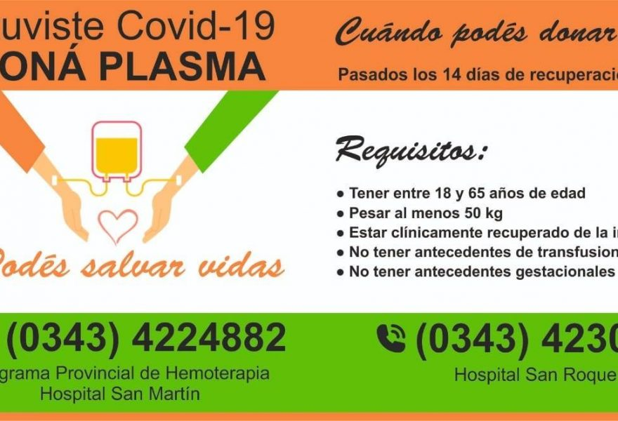 Llamado a la Solidaridad, Donación de plasma de pacientes recuperados de COVID-19