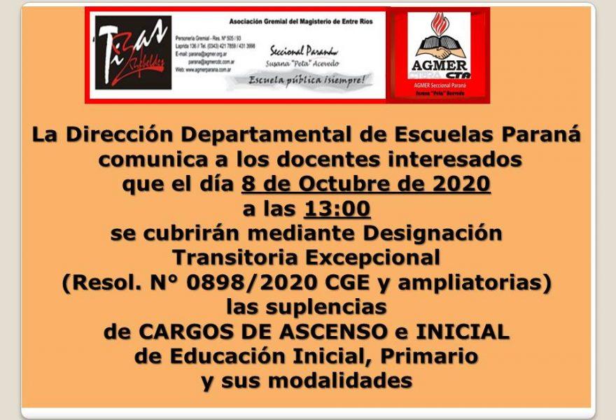 Jueves 8 de Octubre de 2020.  DDE Paraná – CONVOCATORIA D.T.E.- CARGOS DE ASCENSO e INICIAL Resol.N°0898/20 CGE