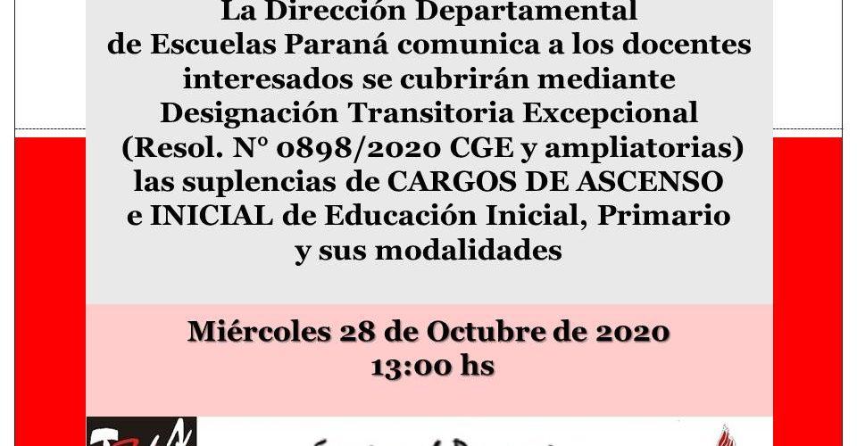 DDE Paraná – CONVOCATORIA D.T.E.- CARGOS DE ASCENSO e INICIAL Resol.N°0898/20 CGE 28 de Octubre de 2020