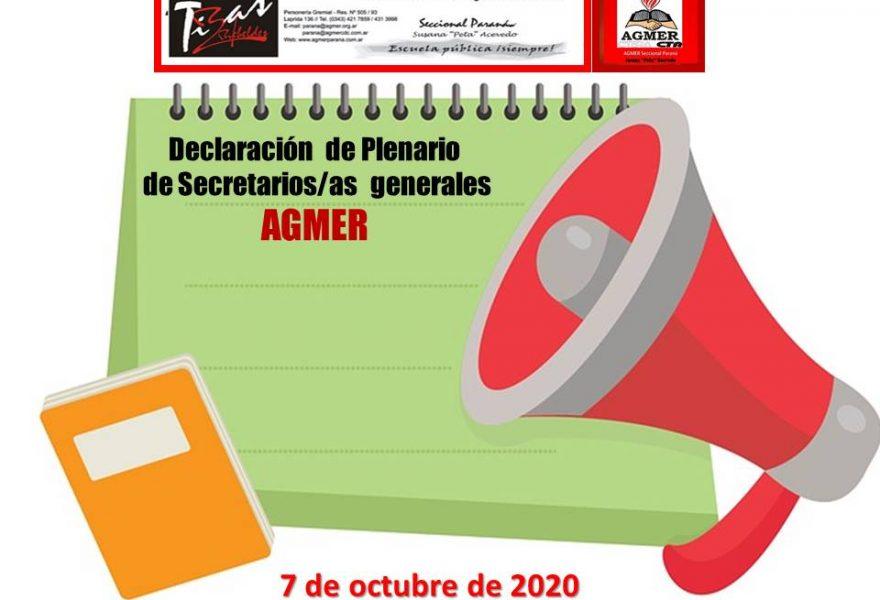 Declaración del Plenario de Secretarias/os Generales. AGMER