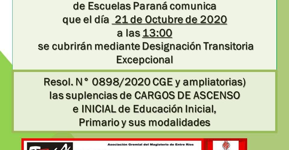 DDE Paraná – CONVOCATORIA D.T.E.- CARGOS DE ASCENSO e INICIAL Resol.N°0898/20 CGE 21 de Octubre de 2020